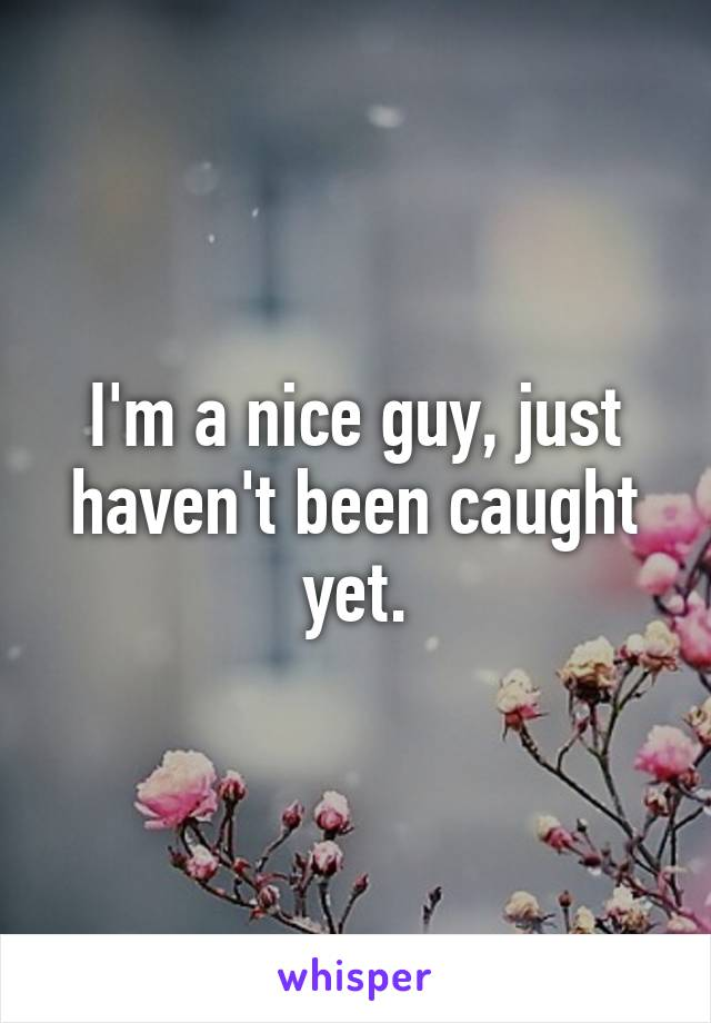 I'm a nice guy, just haven't been caught yet.