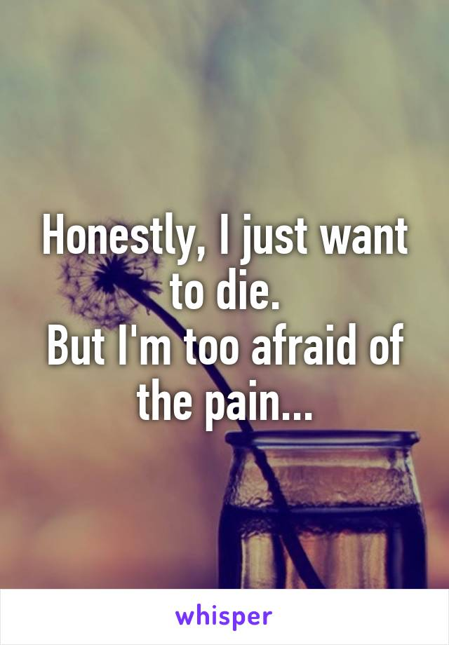 Honestly, I just want to die. But I'm too afraid of the pain...