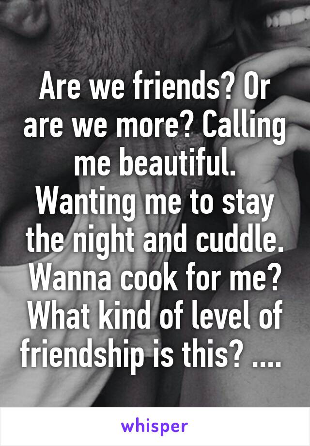 Are we friends? Or are we more? Calling me beautiful. Wanting me to stay the night and cuddle. Wanna cook for me? What kind of level of friendship is this? ....