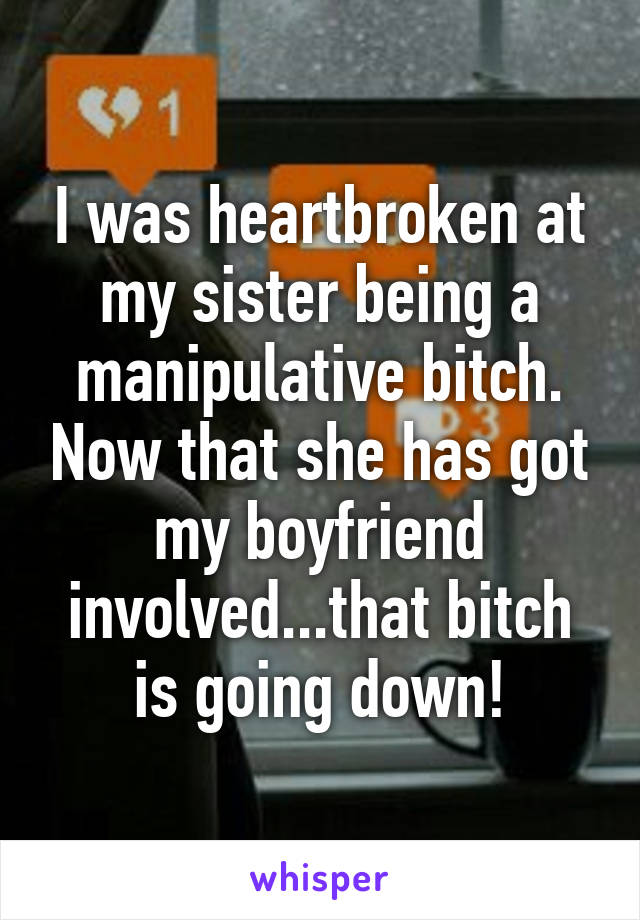I was heartbroken at my sister being a manipulative bitch. Now that she has got my boyfriend involved...that bitch is going down!