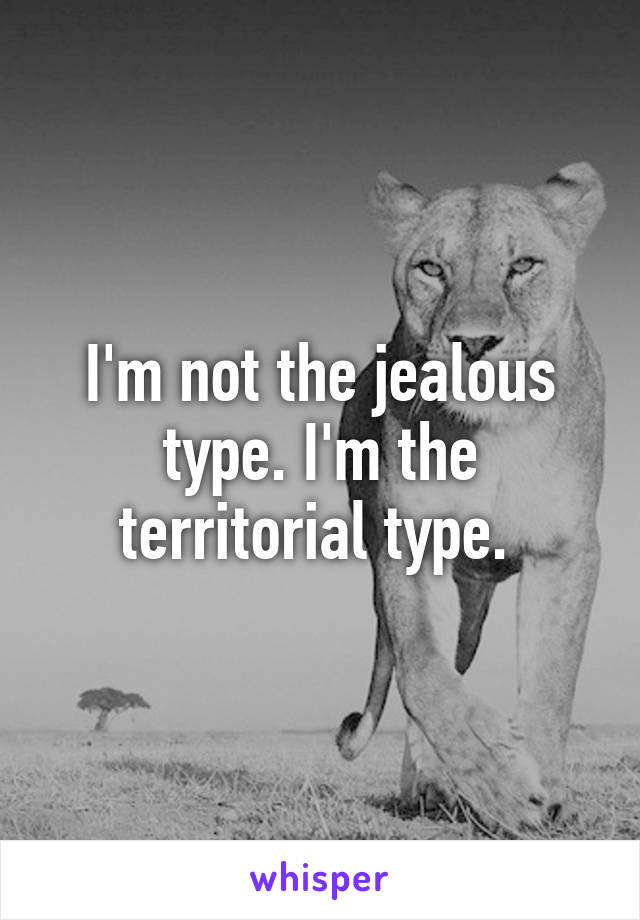 I'm not the jealous type. I'm the territorial type.
