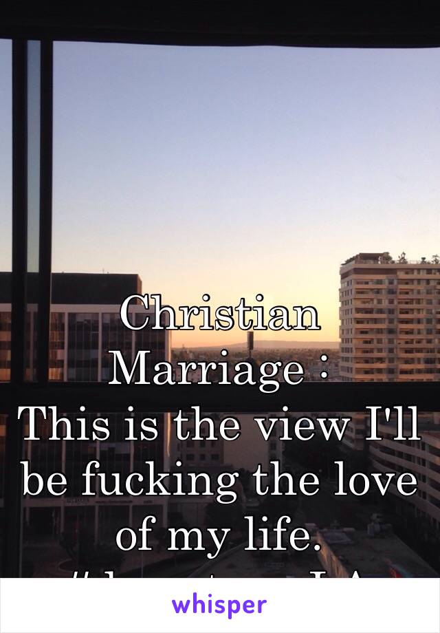 Christian Marriage : This is the view I'll be fucking the love of my life. #downtownLA