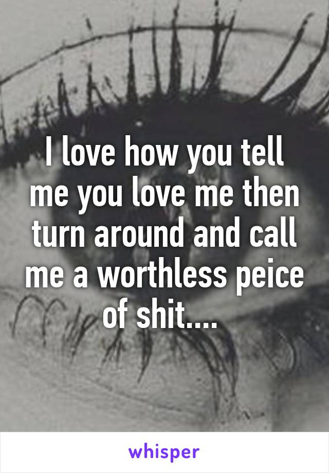 I love how you tell me you love me then turn around and call me a worthless peice of shit....