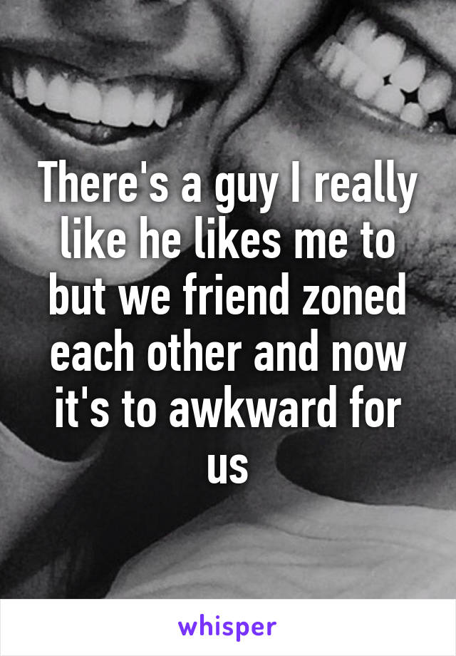 There's a guy I really like he likes me to but we friend zoned each other and now it's to awkward for us