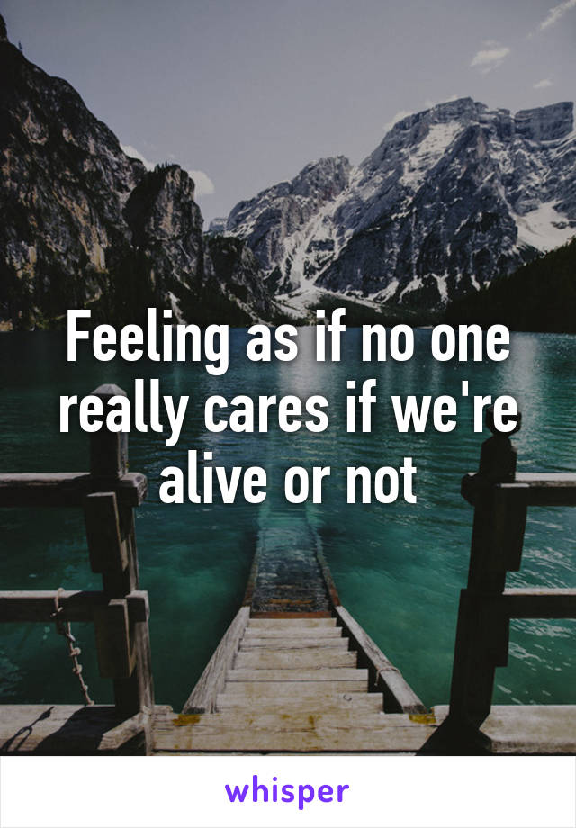 Feeling as if no one really cares if we're alive or not