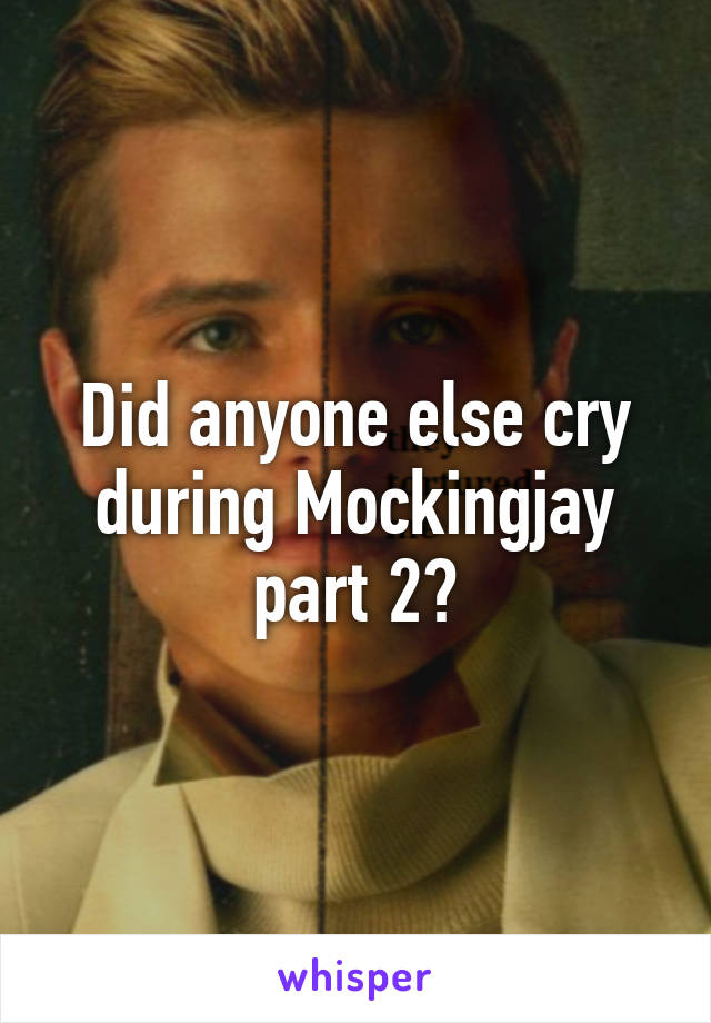 Did anyone else cry during Mockingjay part 2?