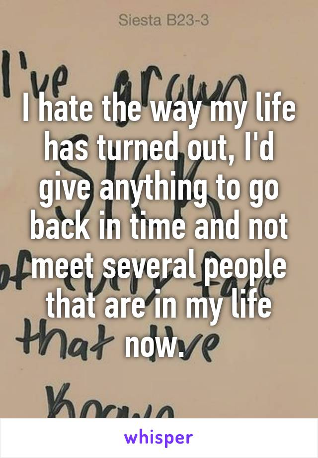 I hate the way my life has turned out, I'd give anything to go back in time and not meet several people that are in my life now.