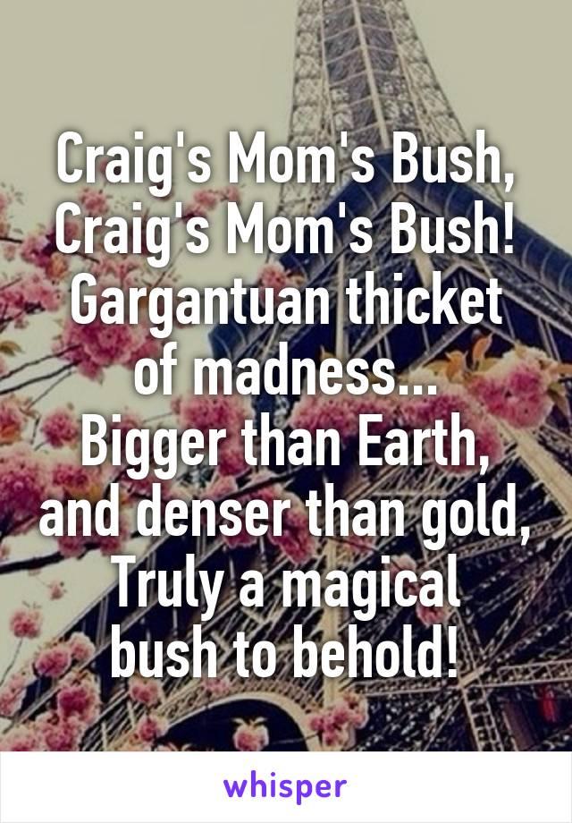 Craig's Mom's Bush, Craig's Mom's Bush! Gargantuan thicket of madness... Bigger than Earth, and denser than gold, Truly a magical bush to behold!