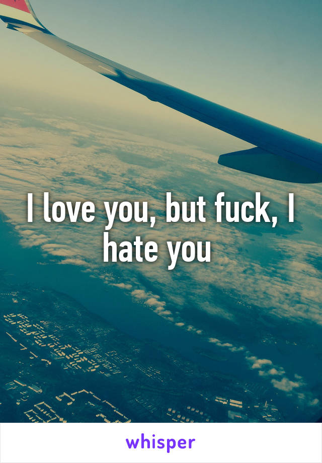 I love you, but fuck, I hate you