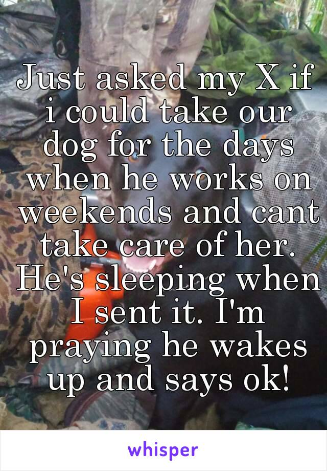Just asked my X if i could take our dog for the days when he works on weekends and cant take care of her. He's sleeping when I sent it. I'm praying he wakes up and says ok!