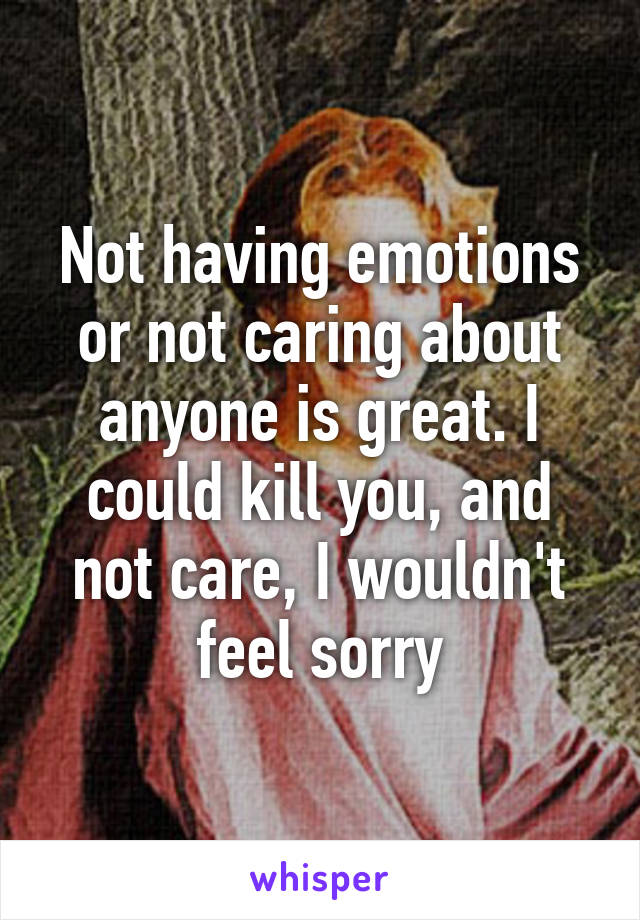 Not having emotions or not caring about anyone is great. I could kill you, and not care, I wouldn't feel sorry