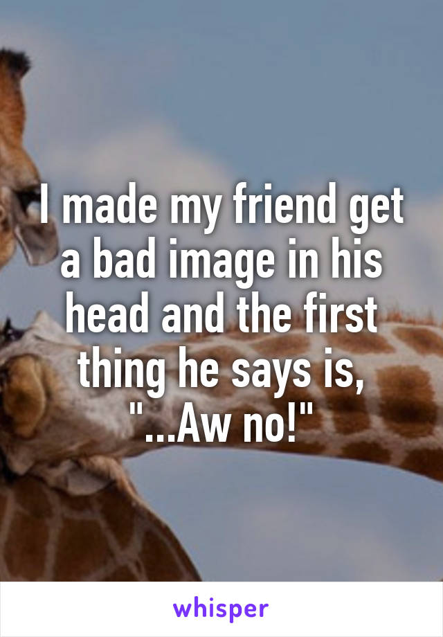 """I made my friend get a bad image in his head and the first thing he says is, """"...Aw no!"""""""