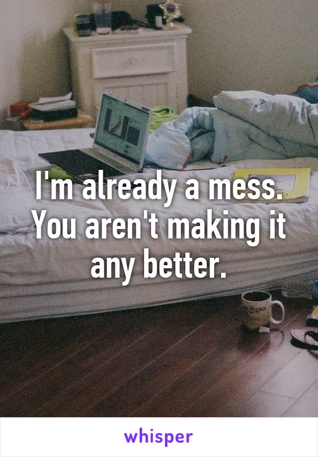 I'm already a mess. You aren't making it any better.