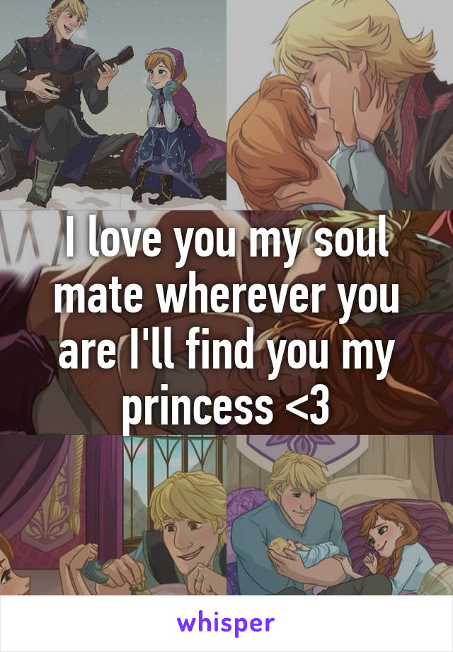 I love you my soul mate wherever you are I'll find you my princess <3