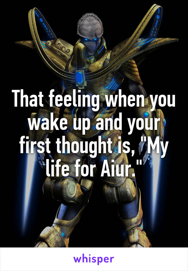 "That feeling when you wake up and your first thought is, ""My life for Aiur."""