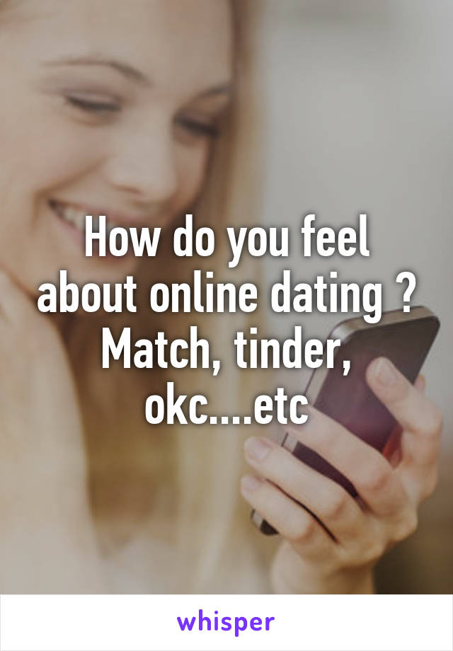How do you feel about online dating ? Match, tinder, okc....etc