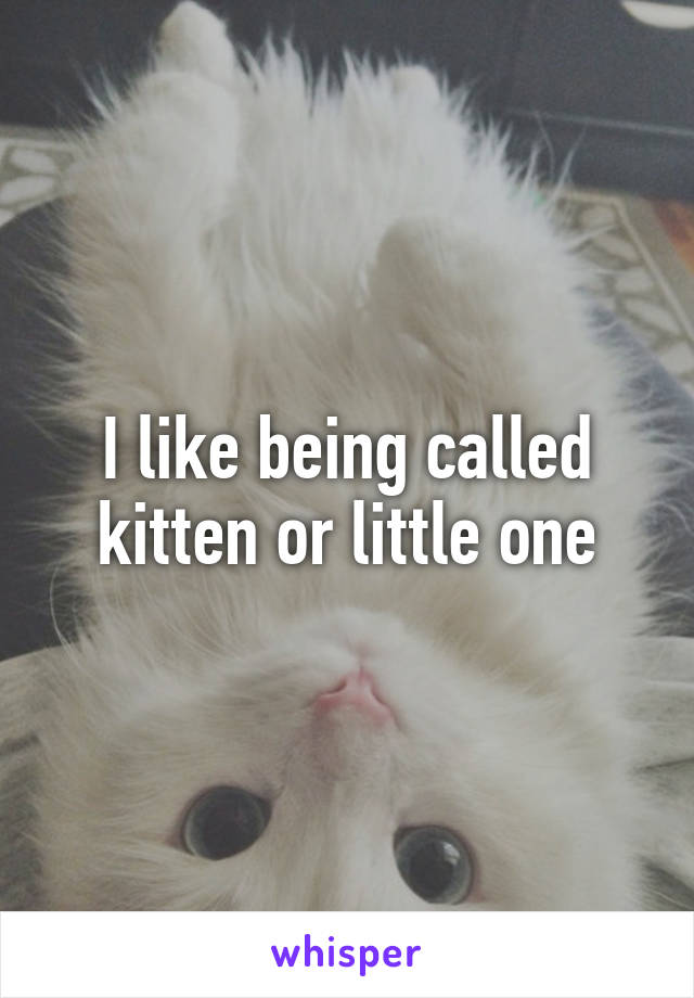 I like being called kitten or little one