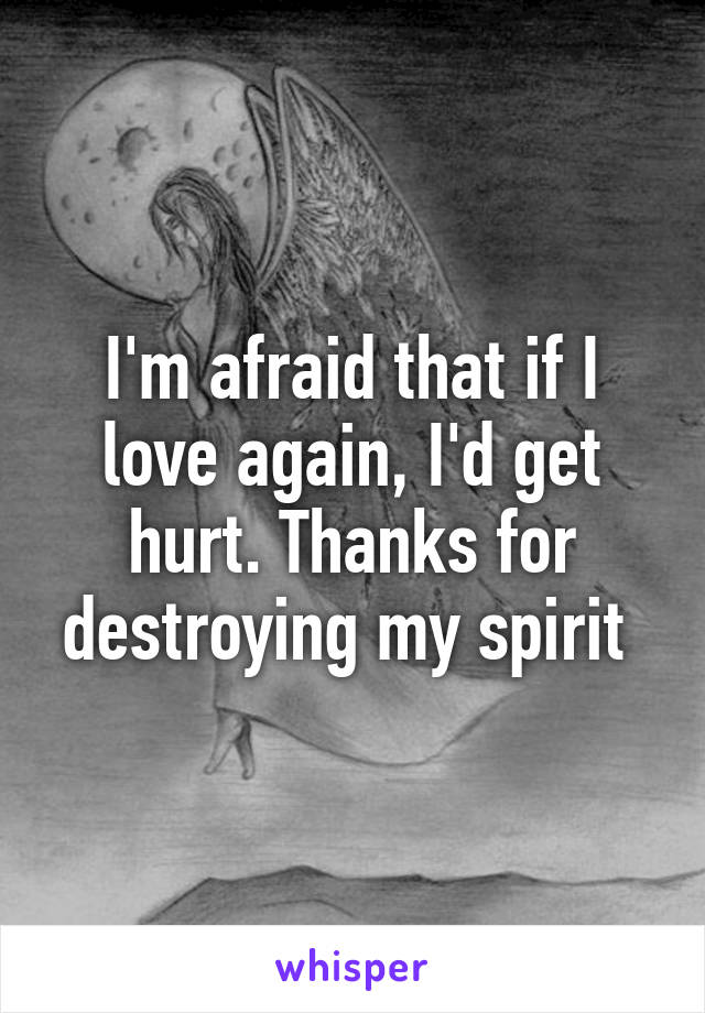 I'm afraid that if I love again, I'd get hurt. Thanks for destroying my spirit