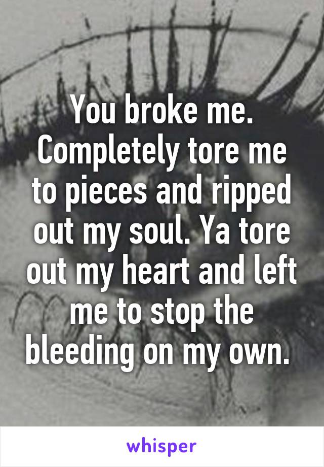 You broke me. Completely tore me to pieces and ripped out my soul. Ya tore out my heart and left me to stop the bleeding on my own.