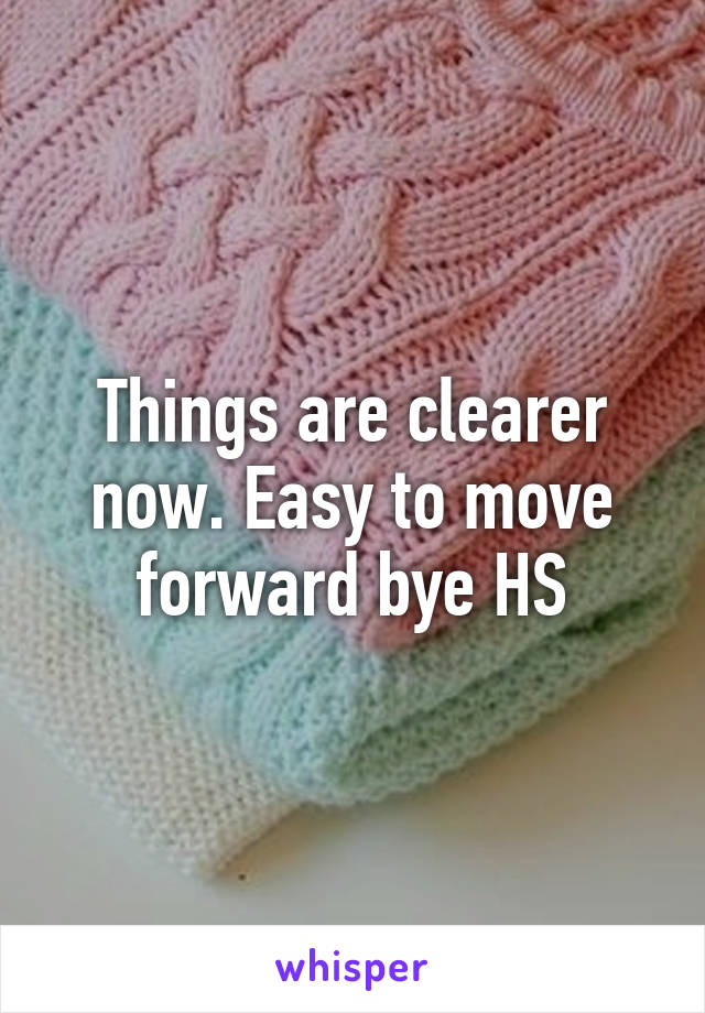 Things are clearer now. Easy to move forward bye HS