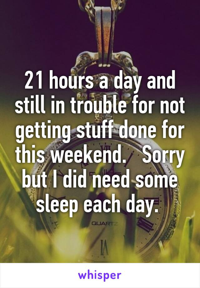 21 hours a day and still in trouble for not getting stuff done for this weekend.   Sorry but I did need some sleep each day.