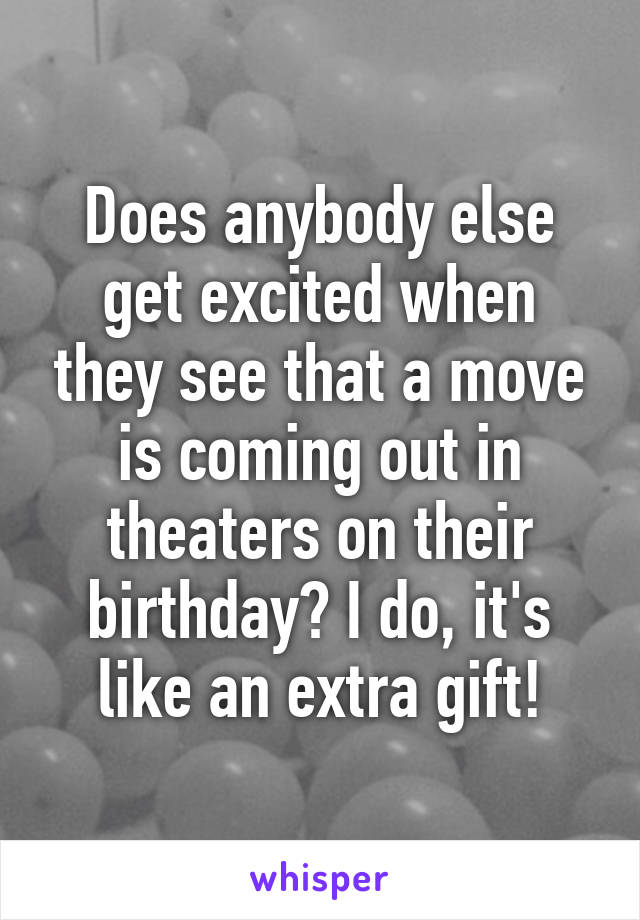 Does anybody else get excited when they see that a move is coming out in theaters on their birthday? I do, it's like an extra gift!