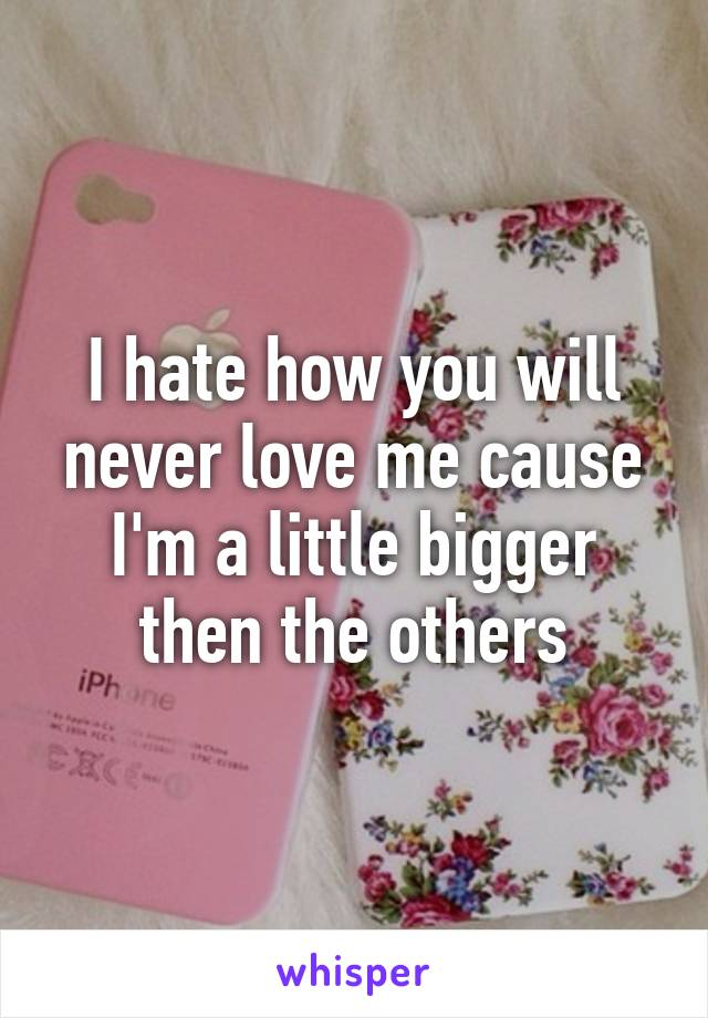 I hate how you will never love me cause I'm a little bigger then the others