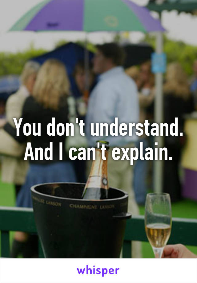 You don't understand. And I can't explain.