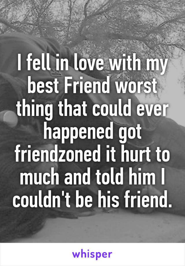 I fell in love with my best Friend worst thing that could ever happened got friendzoned it hurt to much and told him I couldn't be his friend.