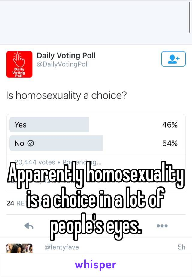Apparently homosexuality is a choice in a lot of people's eyes.