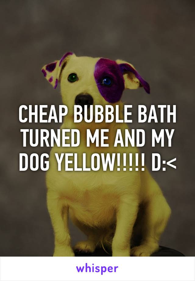 CHEAP BUBBLE BATH TURNED ME AND MY DOG YELLOW!!!!! D:<