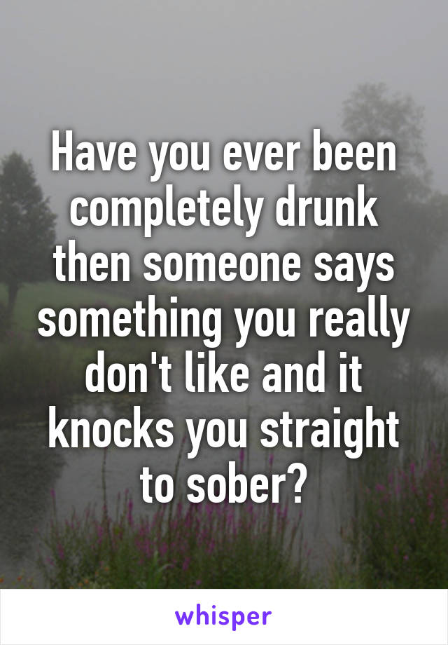 Have you ever been completely drunk then someone says something you really don't like and it knocks you straight to sober?