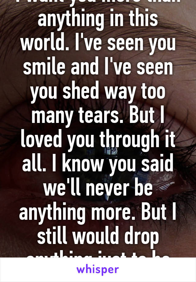 I want you more than anything in this world. I've seen you smile and I've seen you shed way too many tears. But I loved you through it all. I know you said we'll never be anything more. But I still would drop anything just to be with you