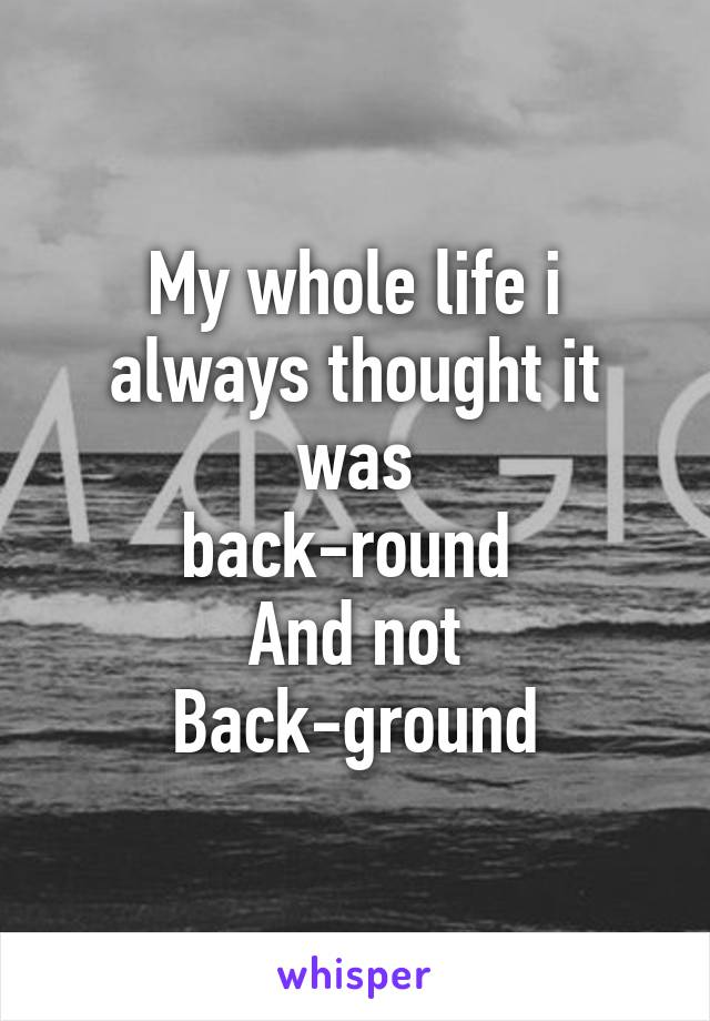 My whole life i always thought it was back-round  And not Back-ground