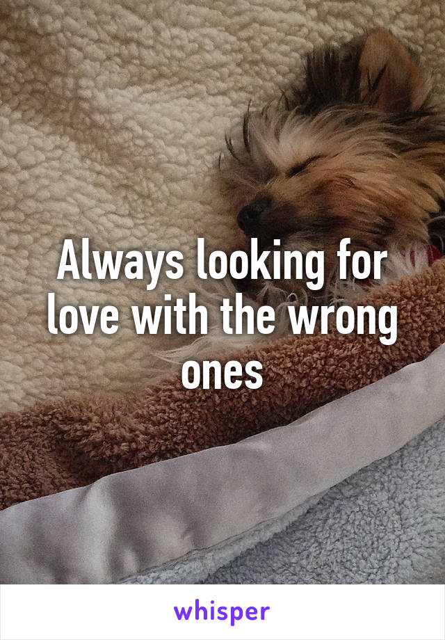 Always looking for love with the wrong ones