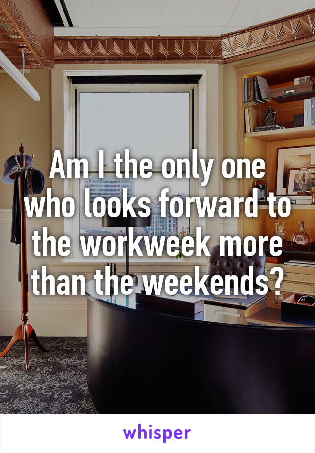 Am I the only one who looks forward to the workweek more than the weekends?