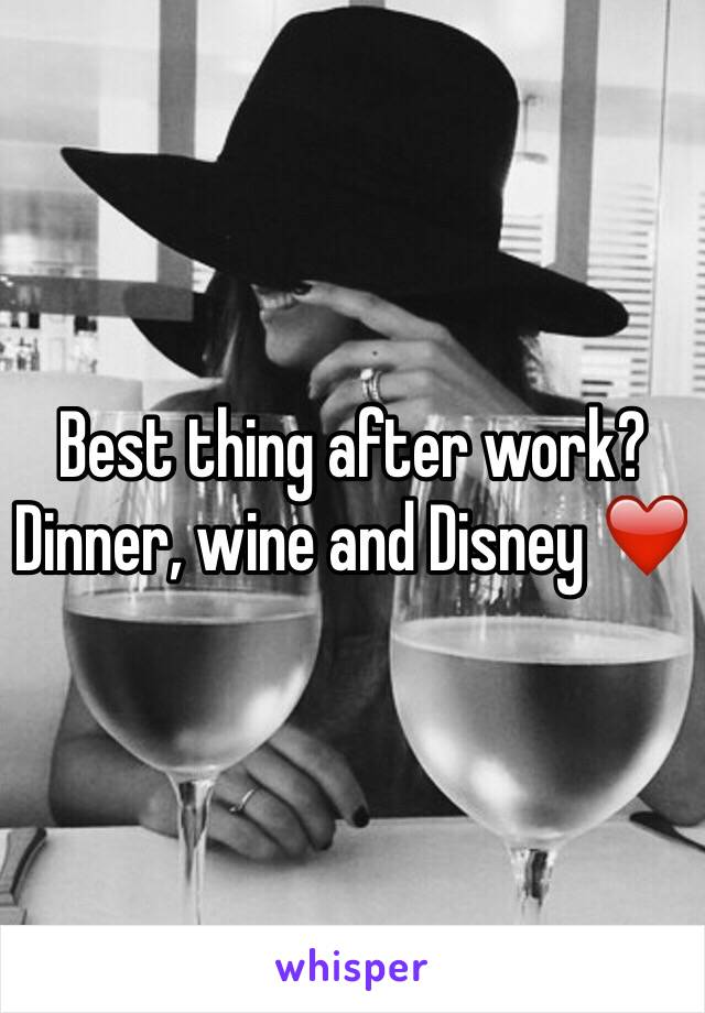 Best thing after work? Dinner, wine and Disney ❤️
