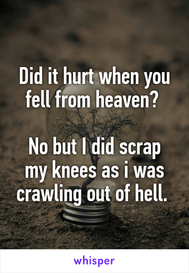 Did it hurt when you fell from heaven?   No but I did scrap my knees as i was crawling out of hell.