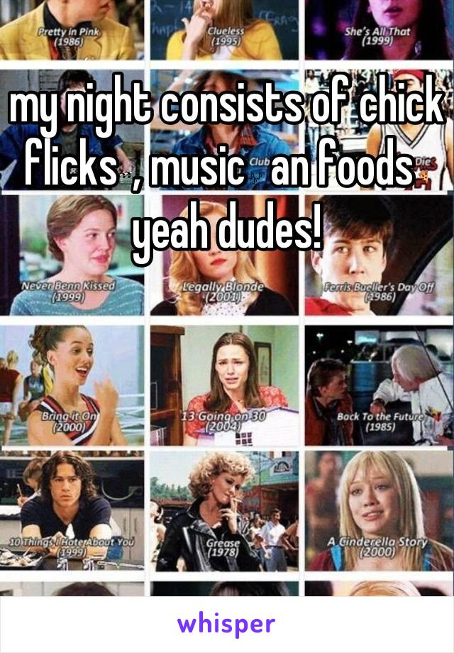 my night consists of chick flicks🎬, music🎶 an foods🍕 yeah dudes!