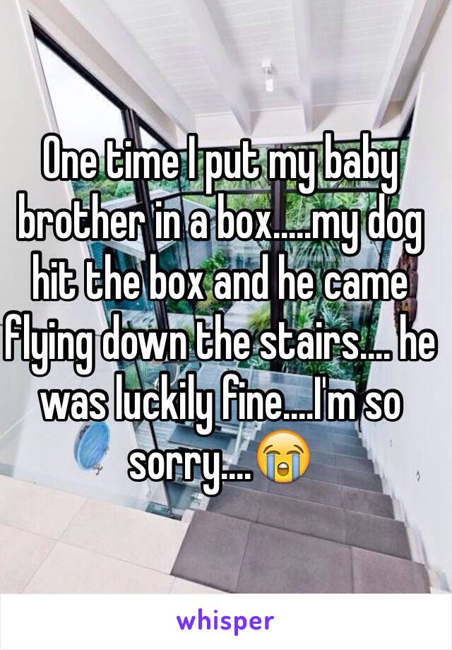 One time I put my baby brother in a box.....my dog hit the box and he came flying down the stairs.... he was luckily fine....I'm so sorry....😭