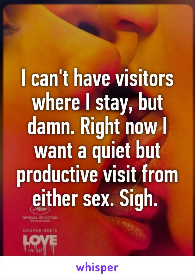 I can't have visitors where I stay, but damn. Right now I want a quiet but productive visit from either sex. Sigh.