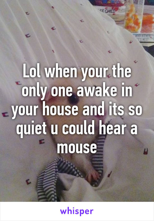 Lol when your the only one awake in your house and its so quiet u could hear a mouse
