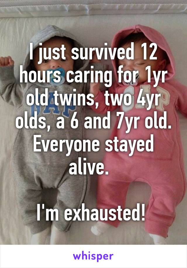 I just survived 12 hours caring for 1yr old twins, two 4yr olds, a 6 and 7yr old. Everyone stayed alive.    I'm exhausted!