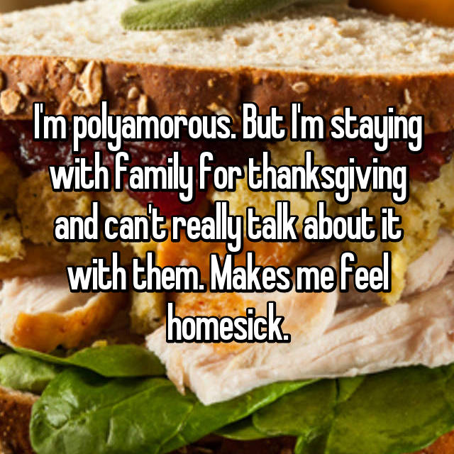 I'm polyamorous. But I'm staying with family for thanksgiving and can't really talk about it with them. Makes me feel homesick.