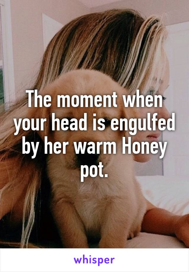 The moment when your head is engulfed by her warm Honey pot.