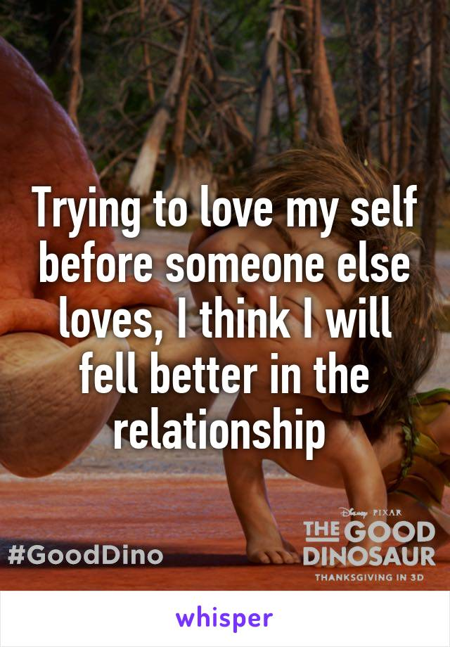Trying to love my self before someone else loves, I think I will fell better in the relationship