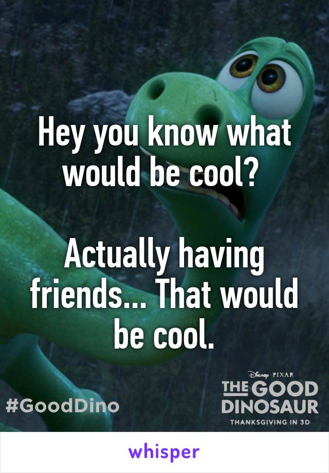Hey you know what would be cool?   Actually having friends... That would be cool.