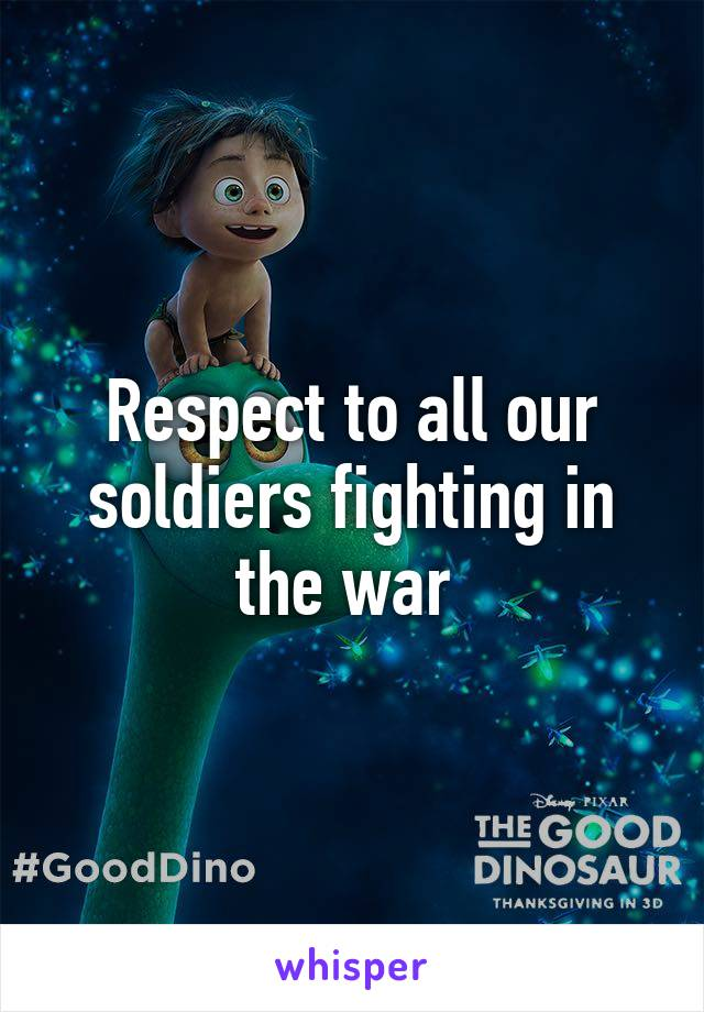 Respect to all our soldiers fighting in the war