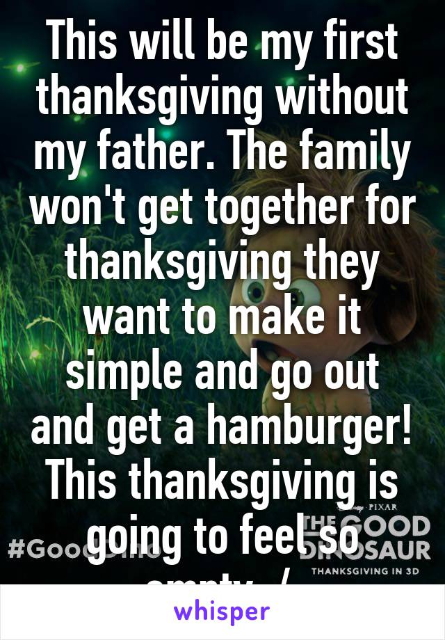This will be my first thanksgiving without my father. The family won't get together for thanksgiving they want to make it simple and go out and get a hamburger! This thanksgiving is going to feel so empty :/
