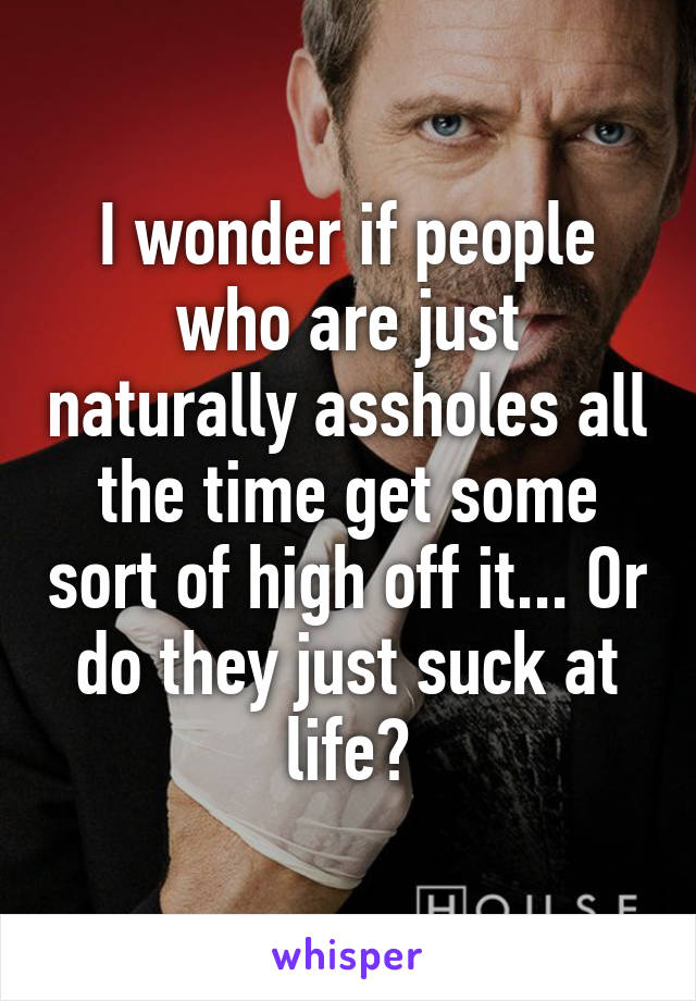 I wonder if people who are just naturally assholes all the time get some sort of high off it... Or do they just suck at life?